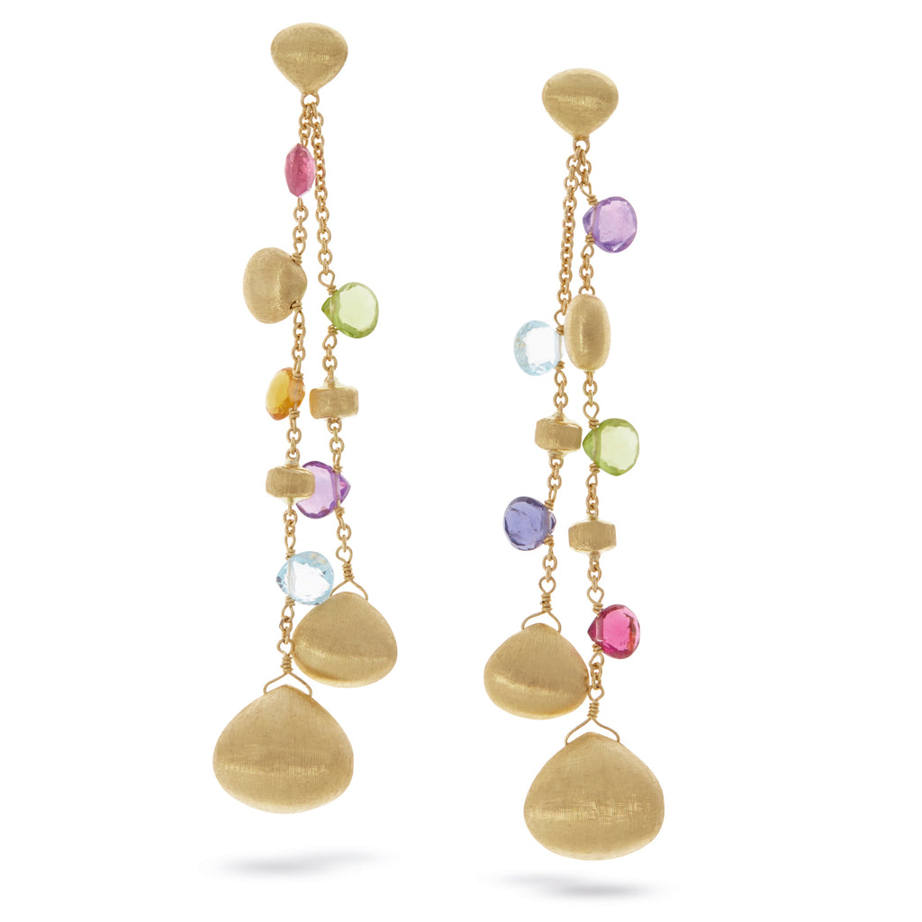 Paradise Mixed Stone and Gold Tear Drop Double Drop Earrings