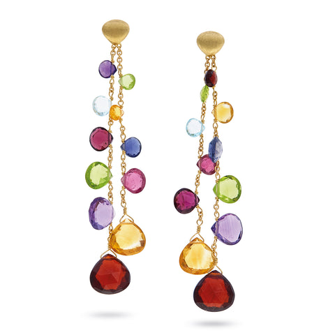 Paradise Elevated Mixed Stone Two Strand Drop Earrings