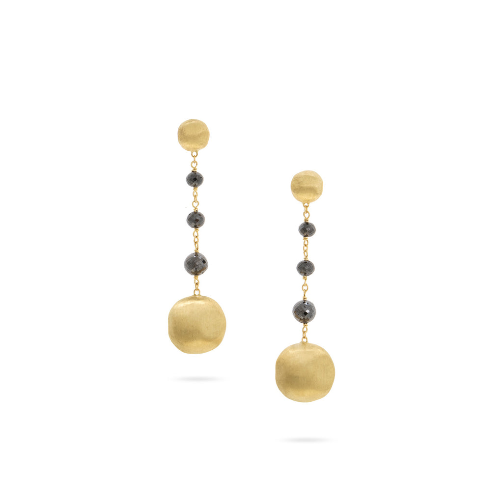 Africa 18K Yellow Gold and Black Diamond Short Drop Earrings