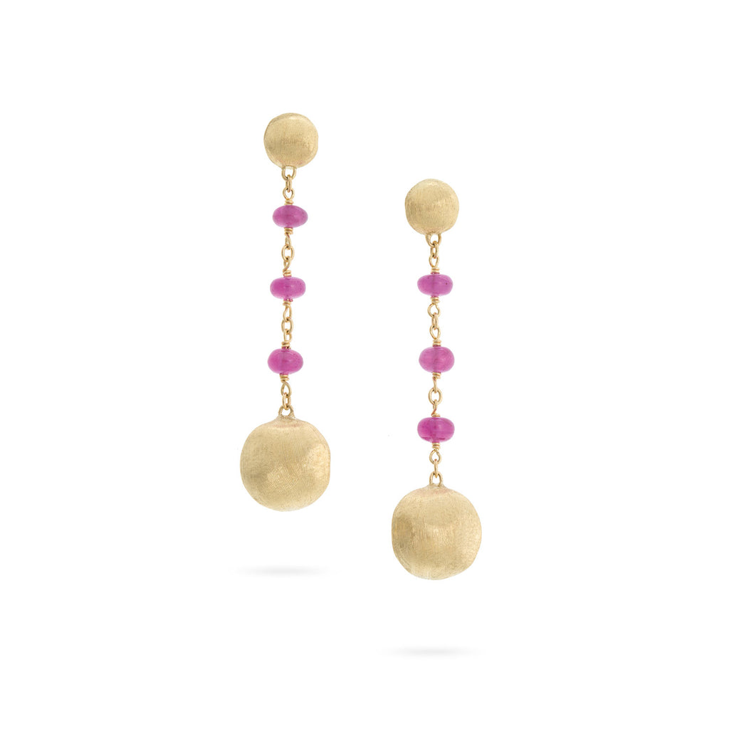 Africa 18K Yellow Gold and Ruby Drop Earrings