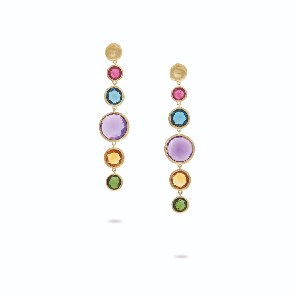 Marco Bicego Jaipur Drop Earrings with Mixed Elevated Gemstones RL1wt