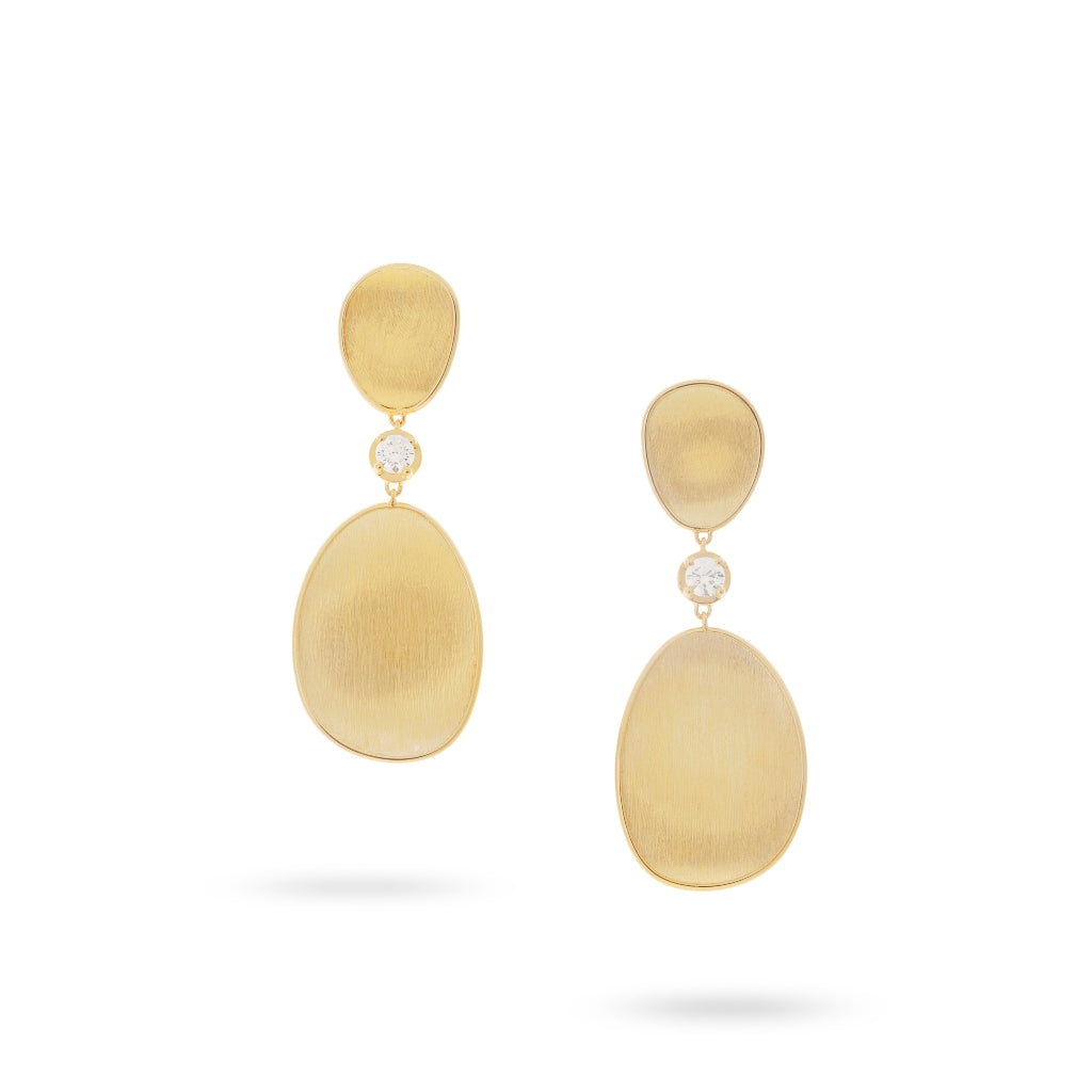 Marco Bicego® Lunaria Collection 18K Yellow Gold and Diamond Drop Earrings
