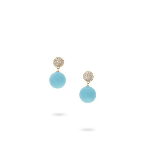 Africa Turquoise Gold, Pave and Turquoise Small Drop Earrings