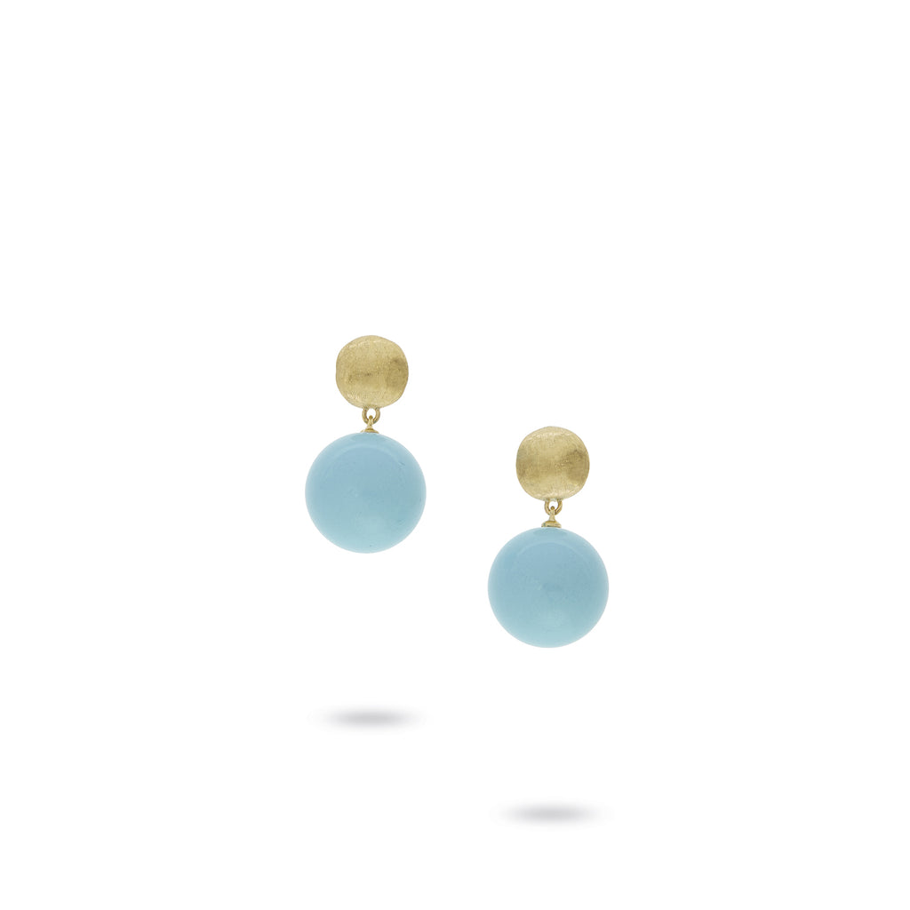 19ef44f602d Africa 18K Yellow Gold and Turquoise Drop Earrings