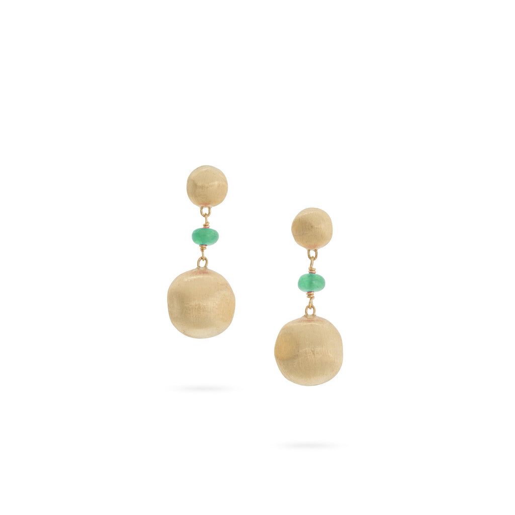 Africa Emerald Short Drop Earrings