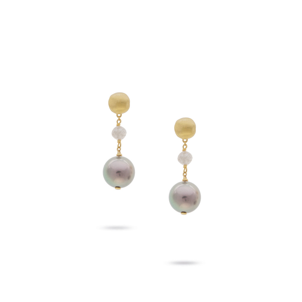 Marco Bicego® Unico Collection 18K Yellow Gold Tahitian Pearl and Grey Diamond Drop Earrings