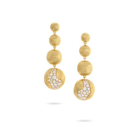 Africa Constellation 18K Yellow Gold and Diamond Long Graduated Drop Earrings