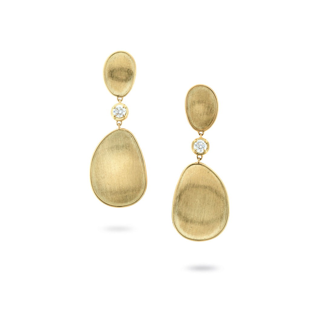 Lunaria Gold and Diamond Large Drop Earrings