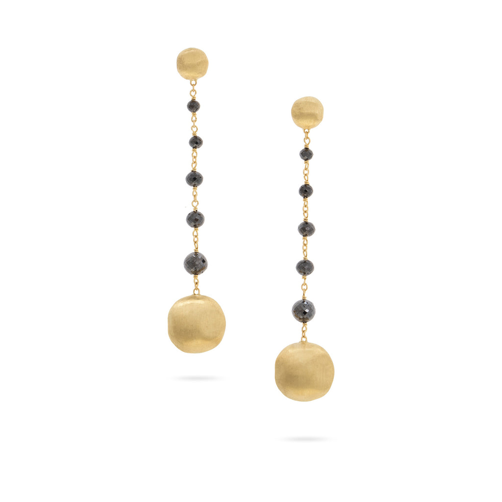 Marco Bicego® Africa Collection Collection 18K Yellow Gold and Black Diamond Drop Earrings