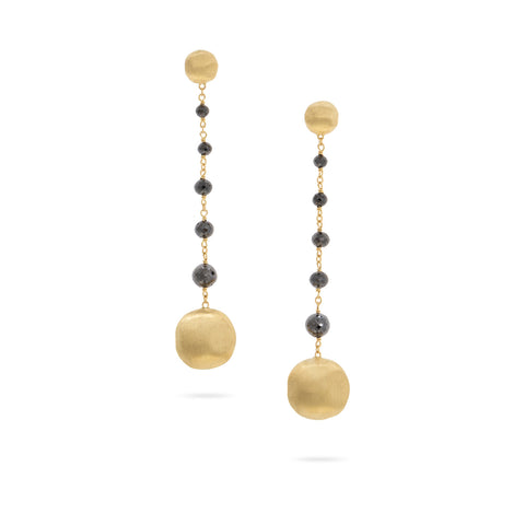 Africa 18K Yellow Gold and Black Diamond Drop Earrings