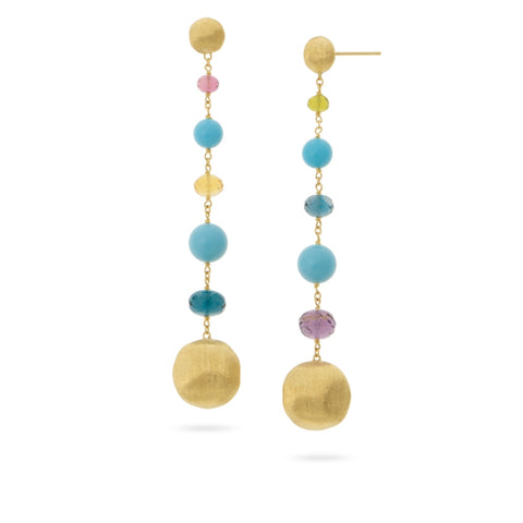 Africa Gemstone 18K Yellow Gold Mixed Gemstone and Turquoise Duster Earrings