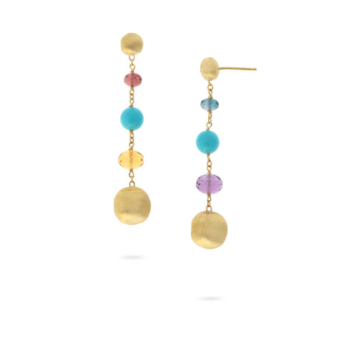Africa Gemstone 18K Yellow Gold Mixed Gemstone and Turquoise Drop Earrings