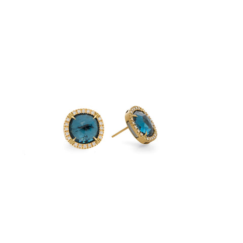 Jaipur 18K Yellow Gold London Blue and Diamond Stud Earrings