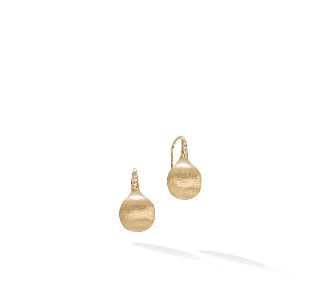 Marco Bicego® Africa Boule 18K Yellow Gold and Diamond Medium French Wire Earrings