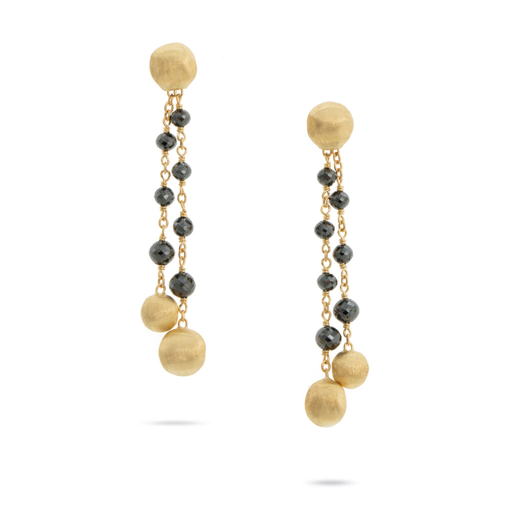 Marco Bicego® Africa Collection 18K Yellow Gold and Black Diamond Tassel Earrings