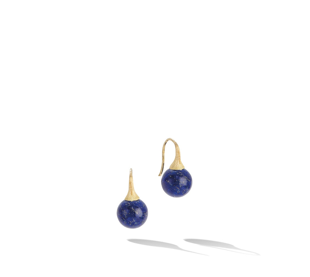 Marco Bicego® Africa Boule Collection 18K Yellow Gold and Lapis French Wire Earrings