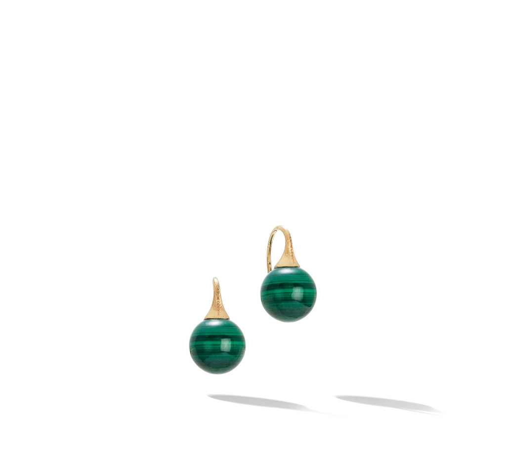 Marco Bicego® Africa Boule Collection 18K Yellow Gold and Malachite French Wire Earrings