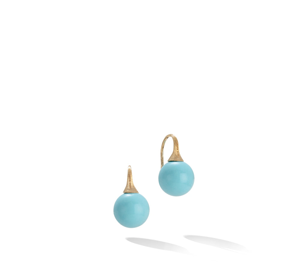 Marco Bicego® Africa Boule Collection 18K Yellow Gold and Turquoise French Wire Earrings