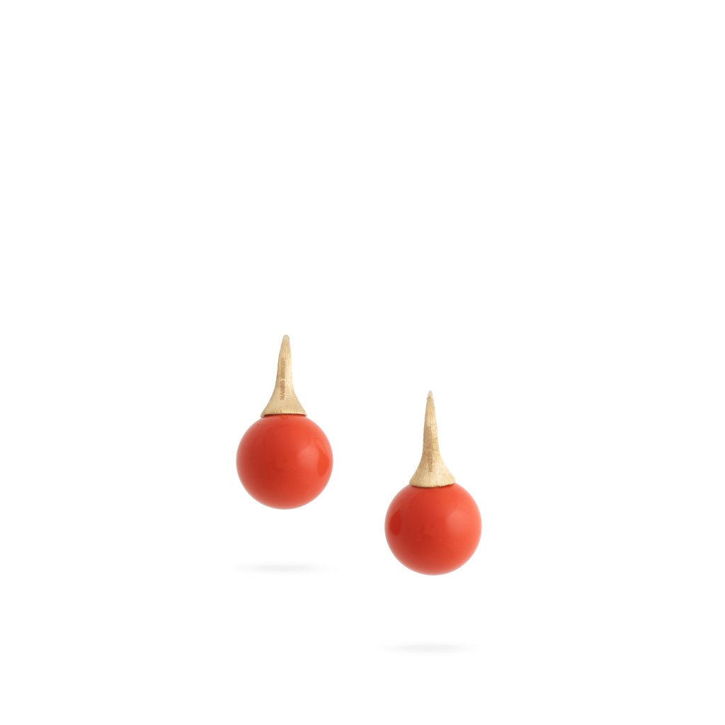 Marco Bicego® Africa Boule Collection 18K Yellow Gold and Coral French Wire Earrings
