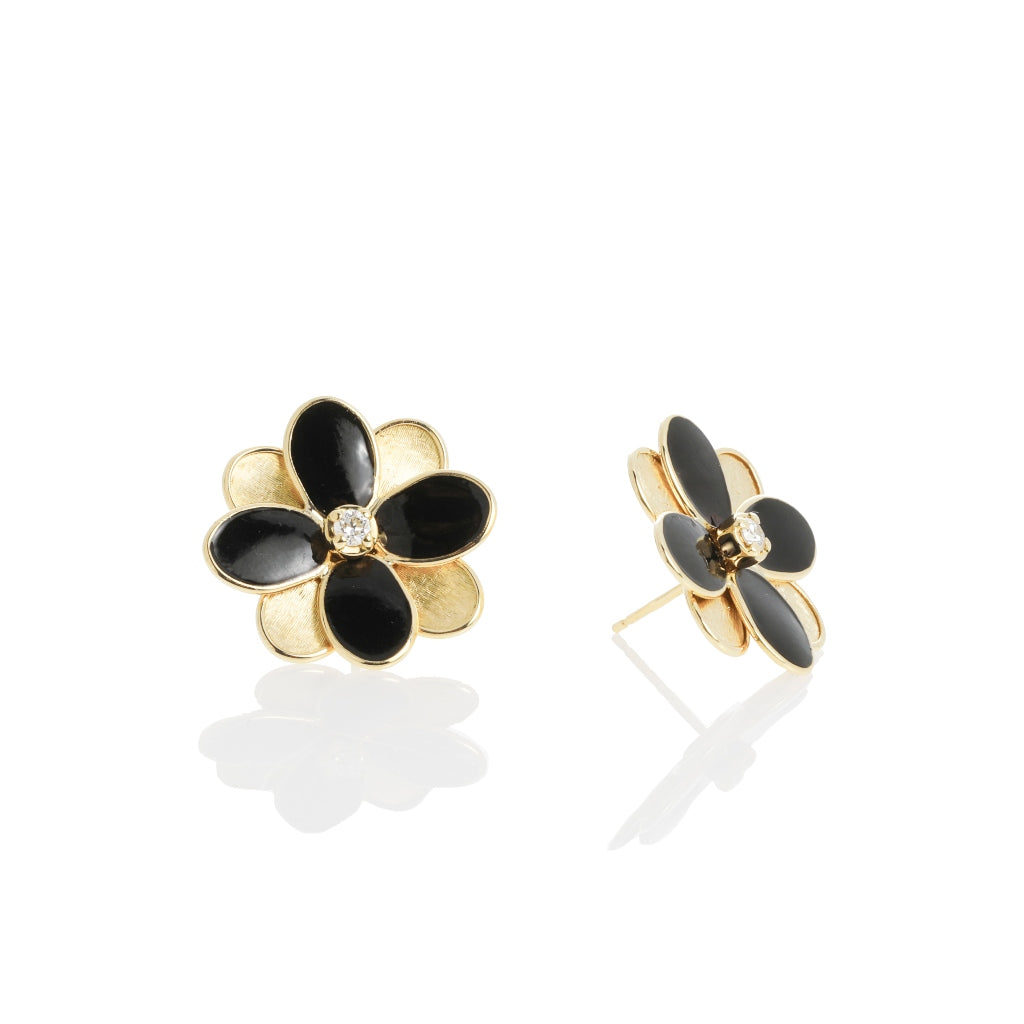 Marco Bicego® Petali Collection 18K Yellow Gold and Black Enamel Flower Stud Earrings