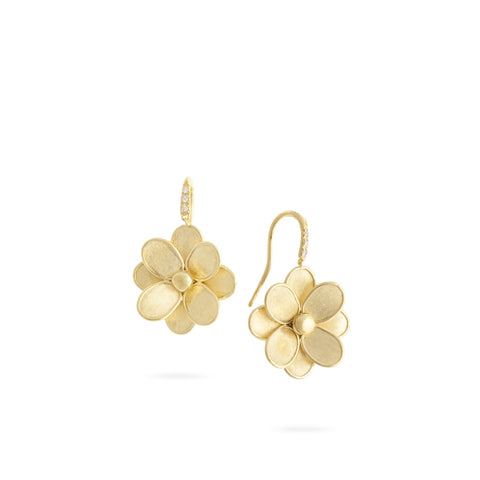 Petali 18K Yellow Gold French Hook Flower Earrings