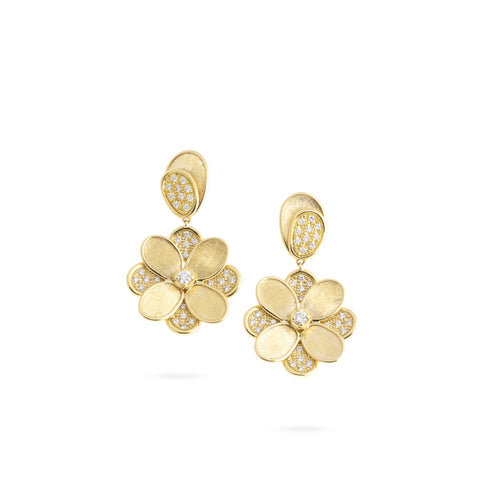 Marco Bicego® Petali Collection 18K Yellow Gold and Pave Flower Drop Earrings