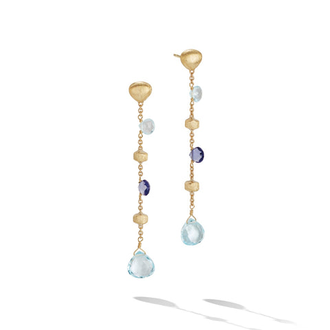 Marco Bicego® Paradise Collection 18K Yellow Gold Iolite and Blue Topaz Long Drop Earrings