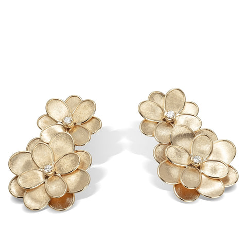 Marco Bicego® Petali Collection 18K Yellow Gold and Diamond Double Flower Drop Earrings