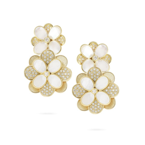 Marco Bicego® Unico Collection 18K Yellow Gold White Mother of Pearl and Diamond Petali Earrings