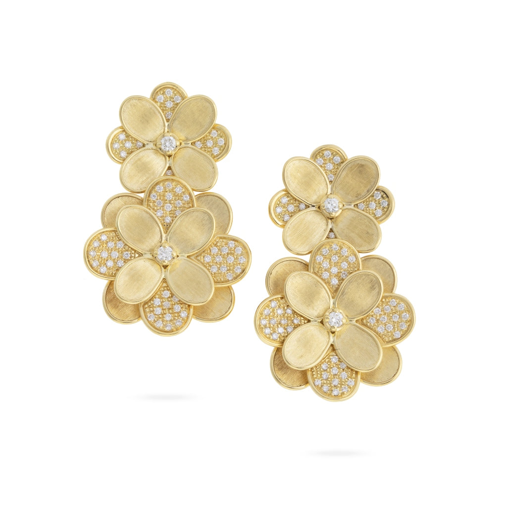 Marco Bicego® Petali Collection 18K Yellow Gold and Pave Flower Double Drop Earrings
