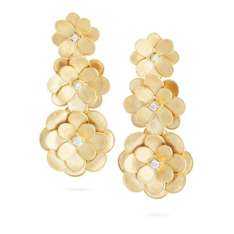 Marco Bicego® Petali Collection 18K Yellow Gold and Diamond Three Flower Drop Earrings