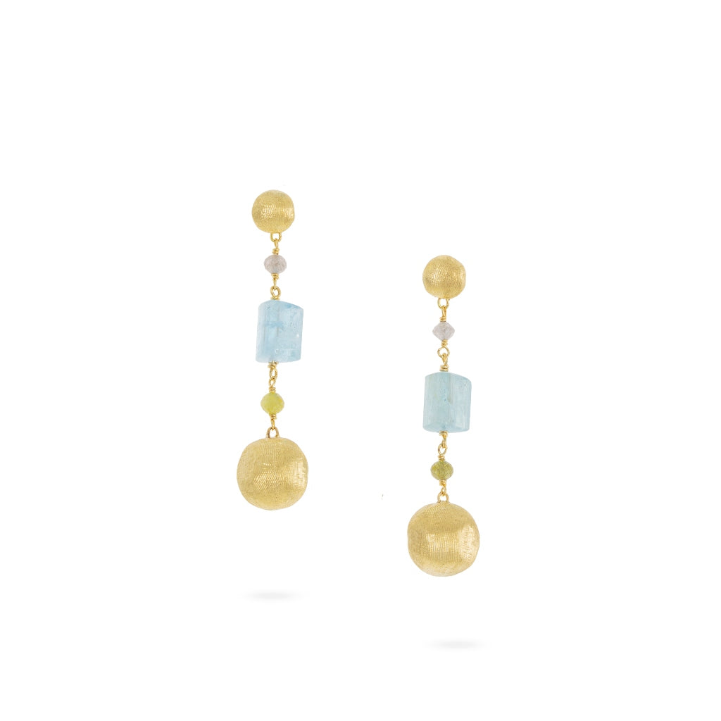 Marco Bicego® Unico Collection 18K Yellow Gold Aquamarine and Rough Diamond Drop Earrings