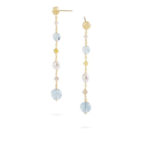 Marco Bicego® Unico Collection 18K Yellow Gold Aquamarine, Rough Cut Diamond, and Pearl Drop Earrings