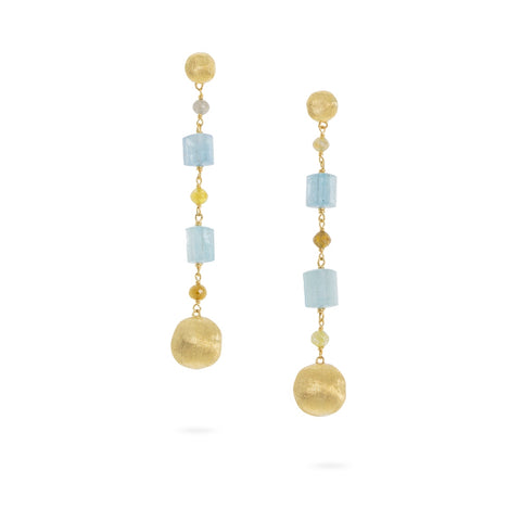 Marco Bicego® Unico Collection 18K Yellow Gold Aquamarine and Rough Diamond Long Drop Earrings