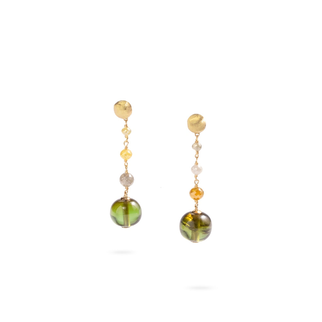 Marco Bicego® Unico Collection 18K Yellow Gold Green Tourmaline and Diamond Earrings