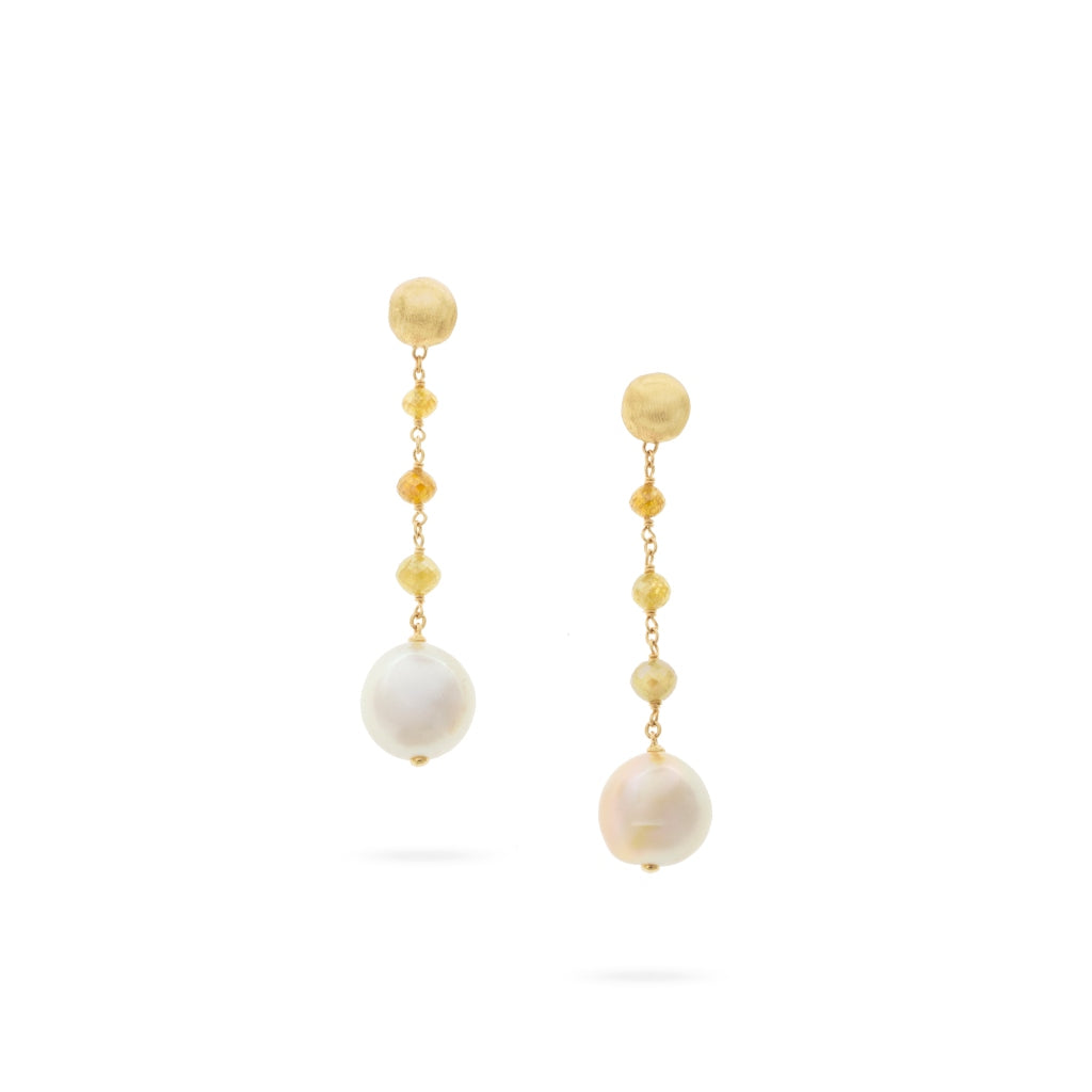 Marco Bicego® Unico Collection 18K Yellow Gold South Sea Pearl and Natural Diamond Earrings