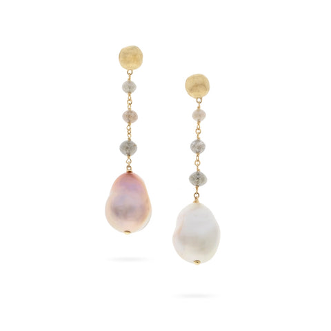 Marco Bicego® Unico Collection 18K Yellow Gold Multi Color Diamond and South Sea Pearl Earrings