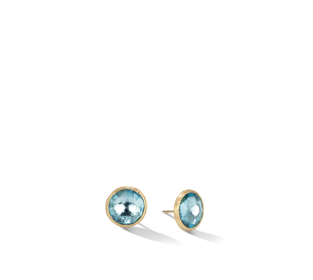 Marco Bicego® Jaipur Color Collection 18K Yellow Gold and Blue Topaz Large Stud