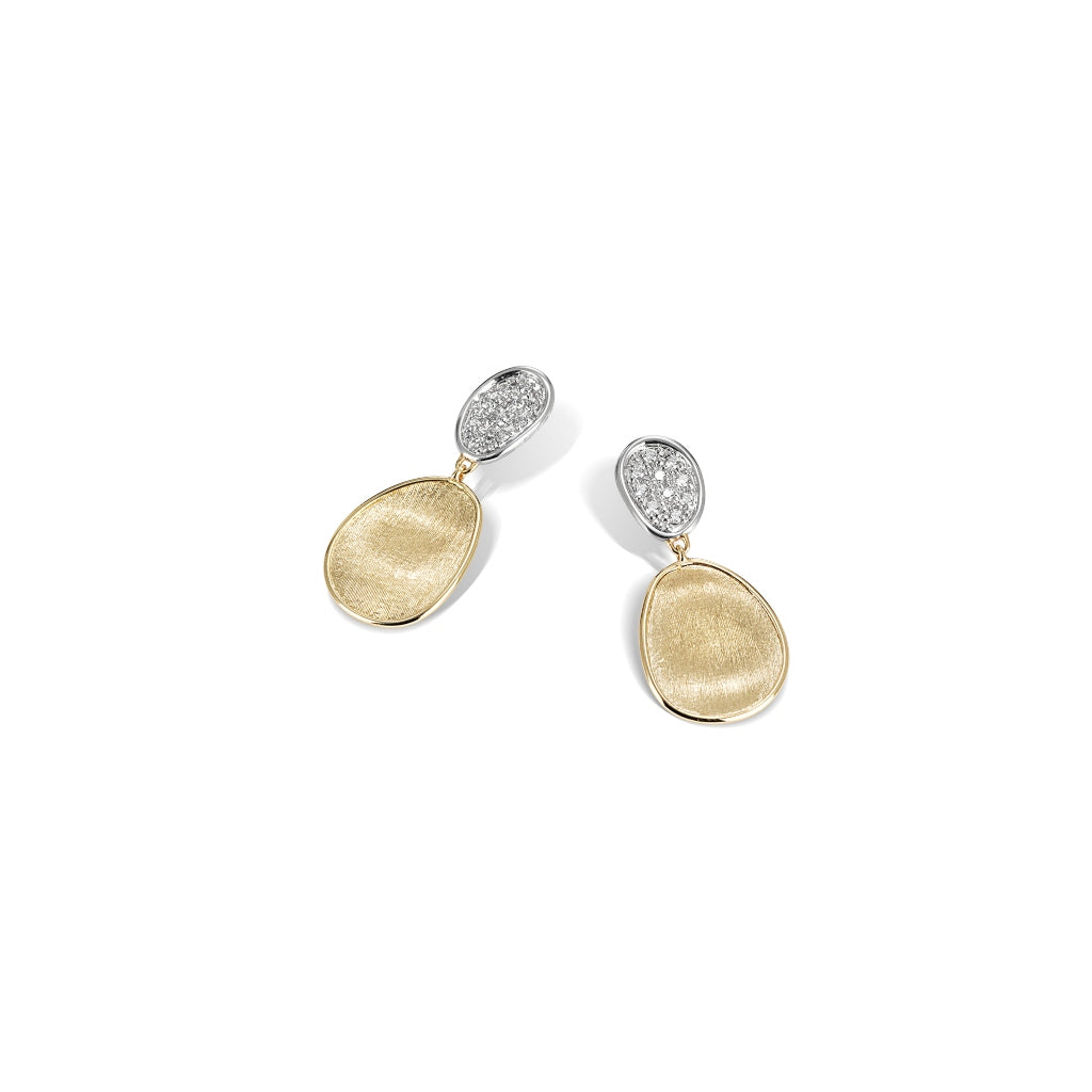 Marco Bicego® Lunaria Collection 18K Yellow Gold and Diamond Petite Double Drop Earrings