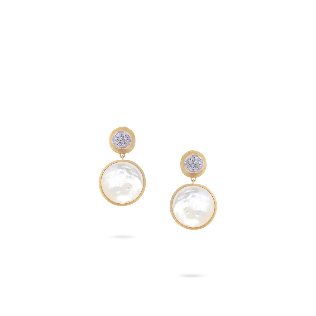 b65cb85055f965 18K Yellow Gold Double Drop Earrings with White Mother of Pearl & Diamonds
