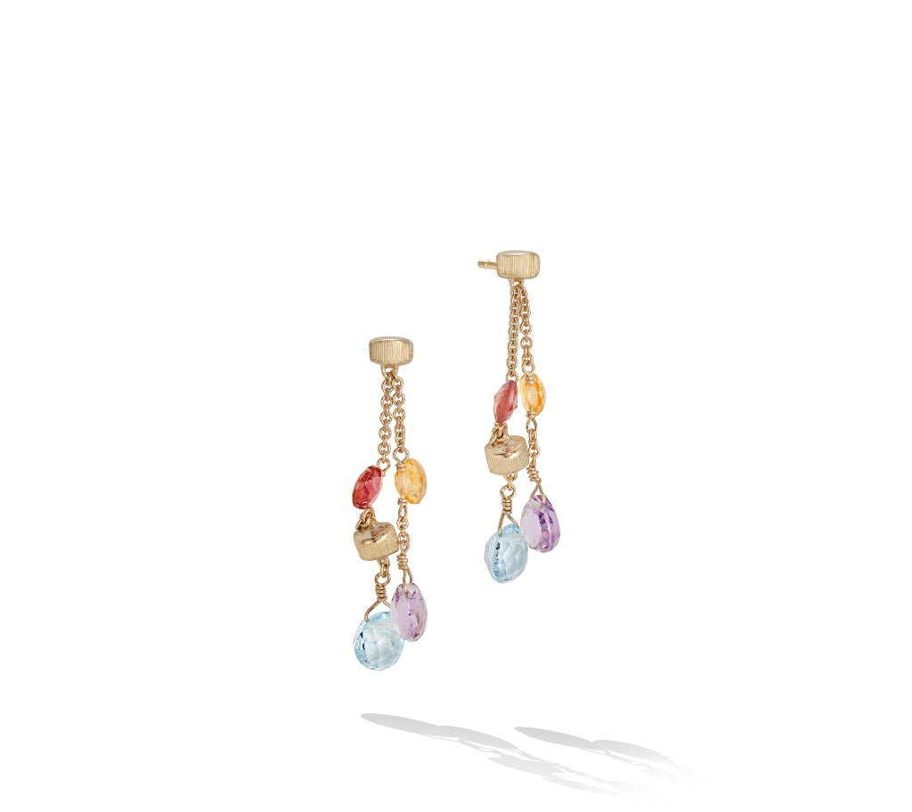 Marco Bicego® Paradise Collection 18K Yellow Gold and Mixed Stone Two Strand Short Earrings