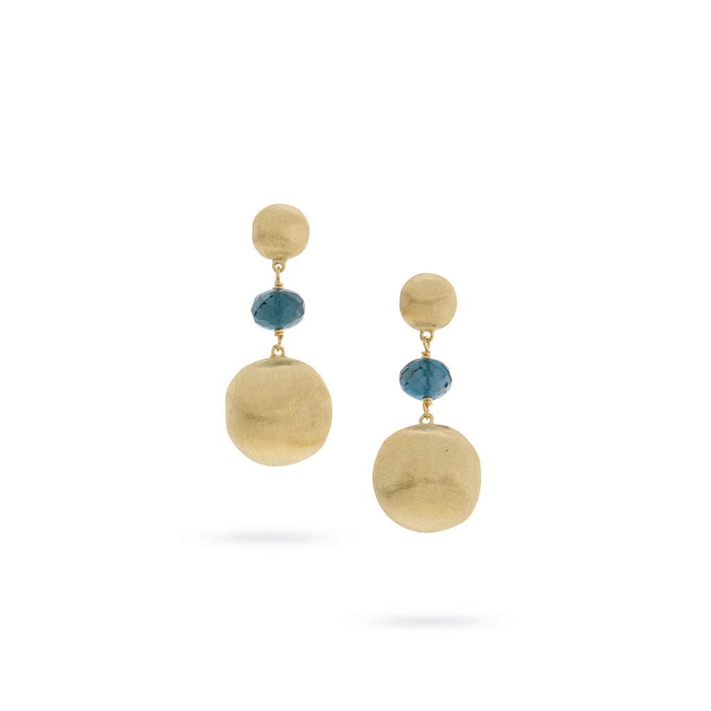 Africa Gemstone 18K Yellow Gold and London Blue Topaz Drop Earrings