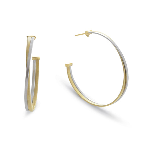 Masai 18K Yellow and White Gold Large Hoop Earrings