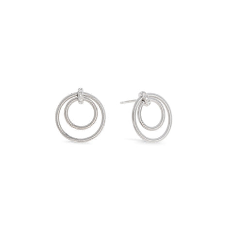 Marco Bicego® Bi49 Collection 18K White Gold and Diamond Small Double Circle Stud Earrings