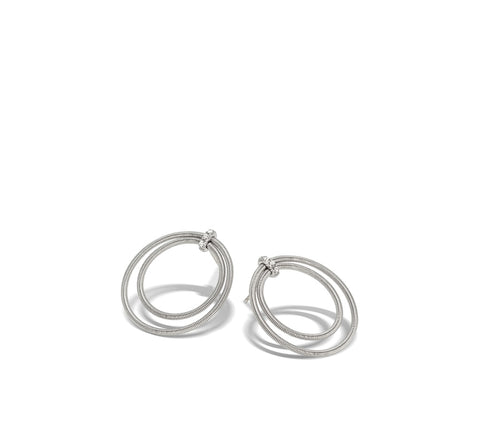 Marco Bicego® Bi49 Collection 18K White Gold and Diamond Large Double Circle Stud Earrings