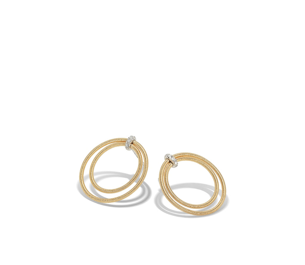 Marco Bicego® Bi49 Collection 18K Yellow Gold and Diamond Large Double Circle Stud Earrings