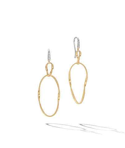 Marco Bicego® Marrakech Onde Collection 18K Yellow Gold and Diamond Double Drop Hook Earring