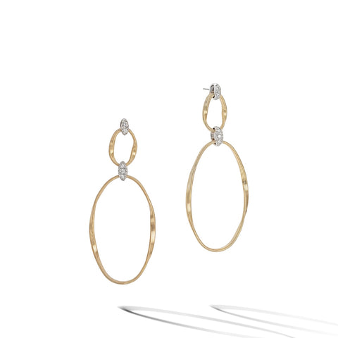 Marco Bicego® Marrakech Onde Collection 18K Yellow Gold and Diamond Flat Link Double Drop Earrings