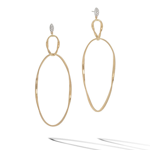 Marco Bicego® Marrakech Onde Collection 18K Yellow Gold and Diamond Double Drop Earring
