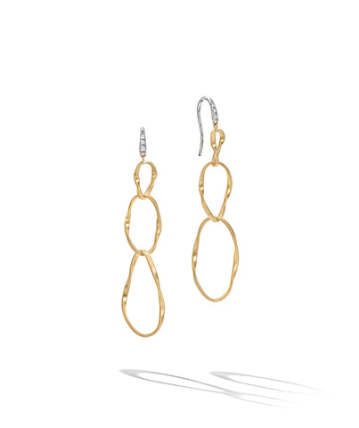 Marco Bicego® Marrakech Onde Collection 18K Yellow Gold and Diamond Triple Drop Hook Earring